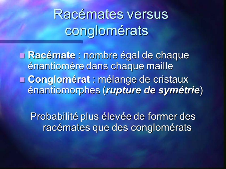 Racémates versus conglomérats