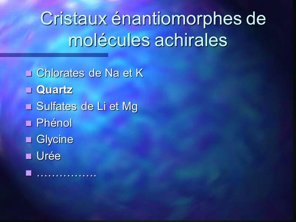 Cristaux énantiomorphes de molécules achirales