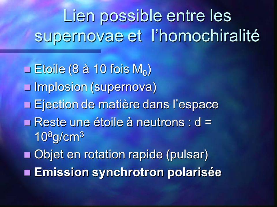 Lien possible entre les supernovae et l'homochiralité
