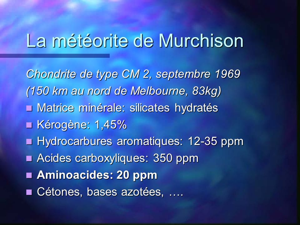 La météorite de Murchison