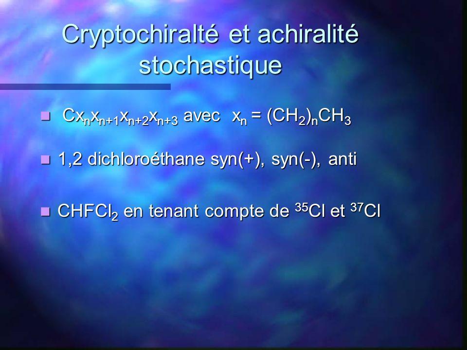 Cryptochiralté et achiralité stochastique