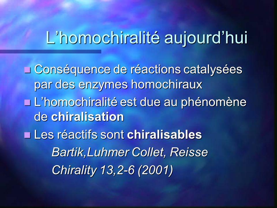 L'homochiralité aujourd'hui