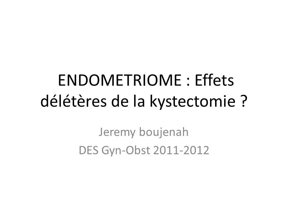 ENDOMETRIOME : Effets délétères de la kystectomie