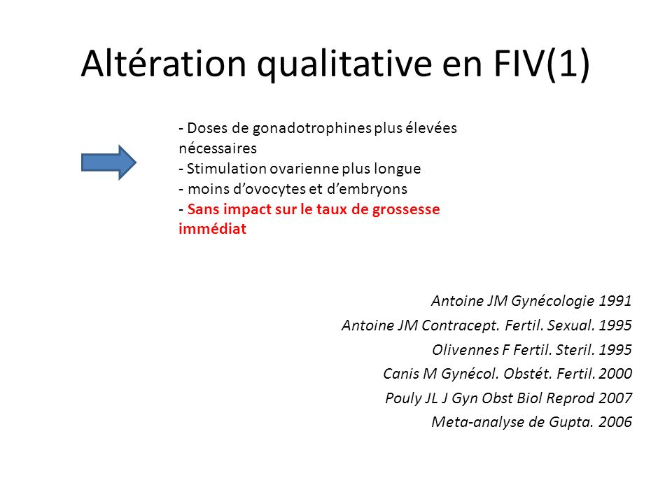 Altération qualitative en FIV(1)