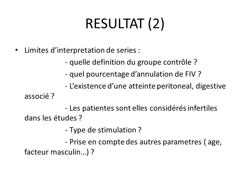 RESULTAT (2) Limites d'interpretation de series :