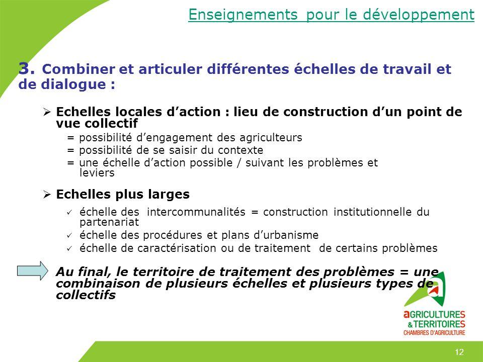 Enseignements pour le développement