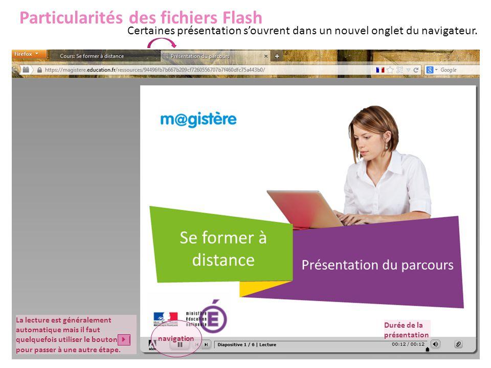 Particularités des fichiers Flash