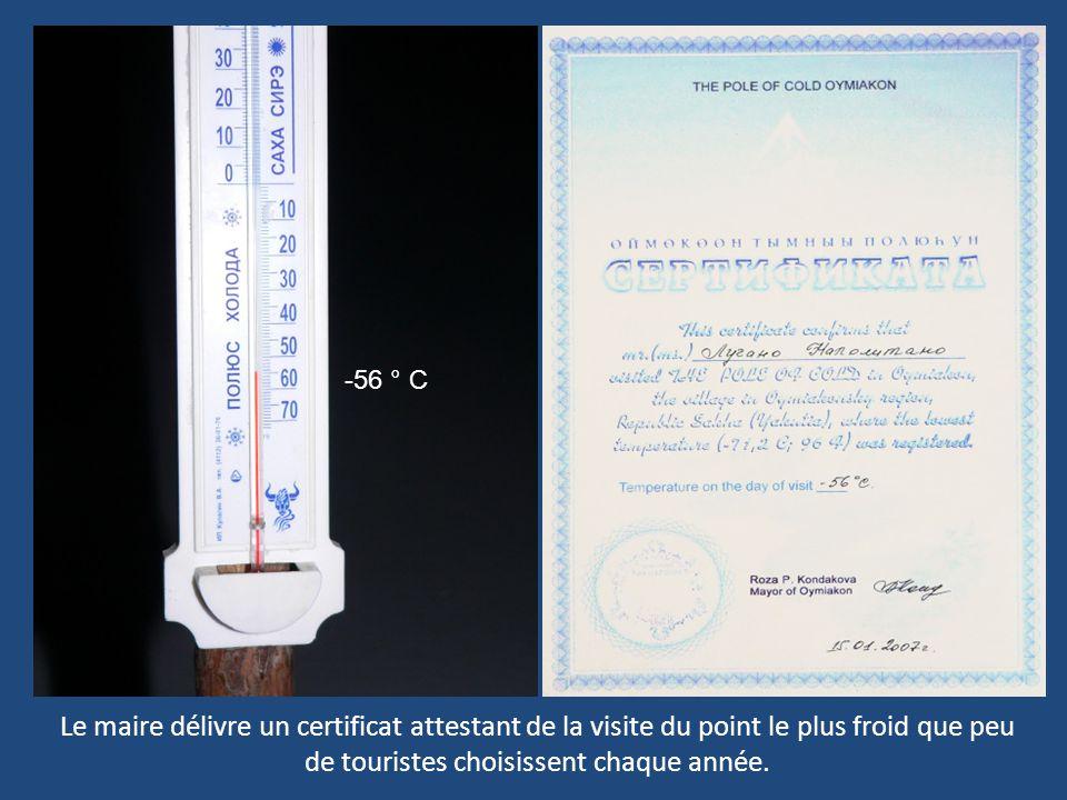 -56 ° C Le maire délivre un certificat attestant de la visite du point le plus froid que peu de touristes choisissent chaque année.