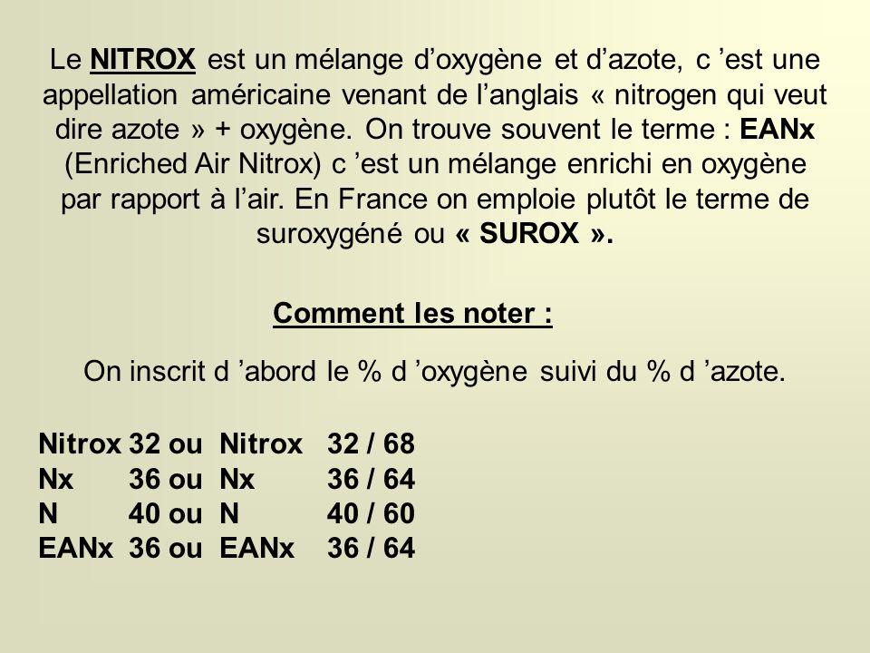 Le NITROX est un mélange d'oxygène et d'azote, c 'est une