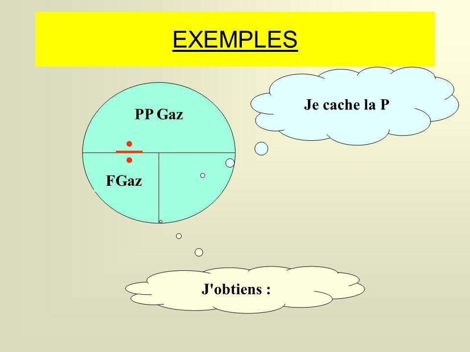 EXEMPLES Je cache la P PP Gaz  FGaz J obtiens :