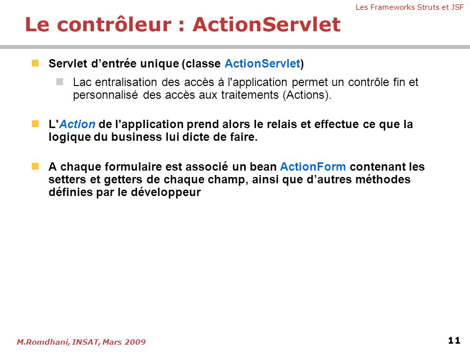 Le contrôleur : ActionServlet