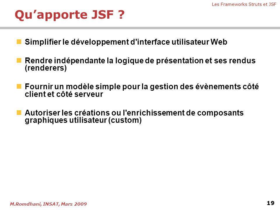 Qu'apporte JSF Simplifier le développement d interface utilisateur Web. Rendre indépendante la logique de présentation et ses rendus (renderers)