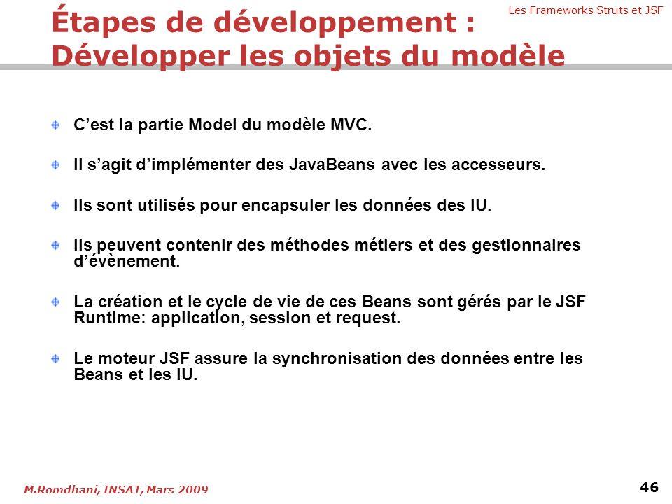 Étapes de développement : Développer les objets du modèle