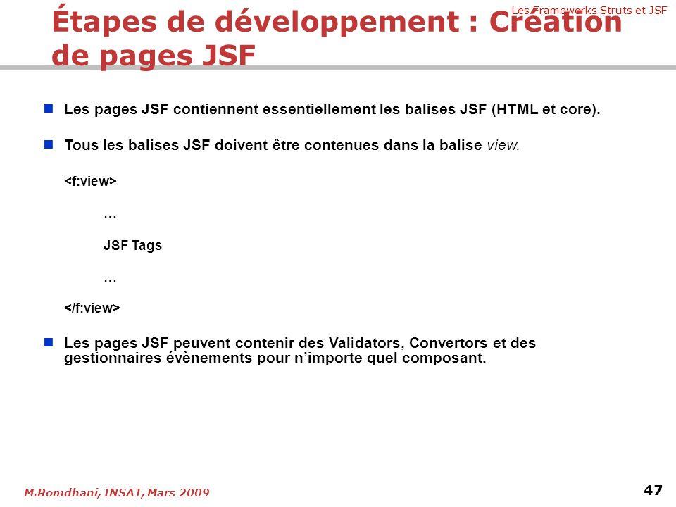 Étapes de développement : Création de pages JSF