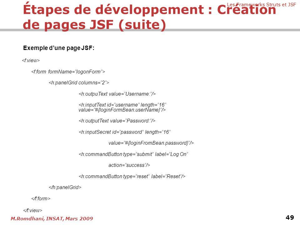 Étapes de développement : Création de pages JSF (suite)