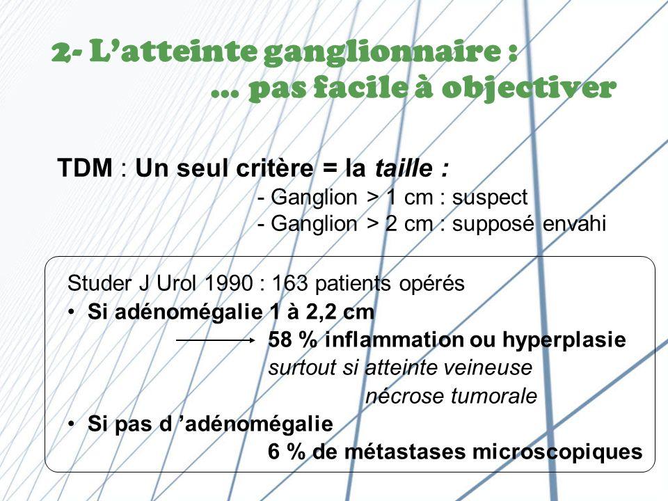 2- L'atteinte ganglionnaire : … pas facile à objectiver