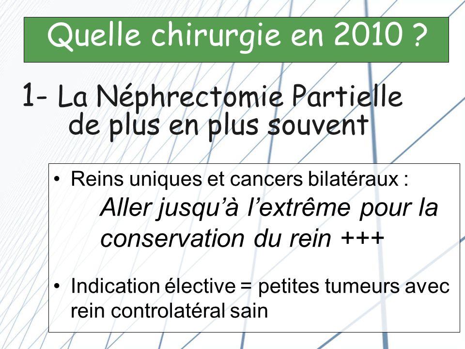 1- La Néphrectomie Partielle de plus en plus souvent