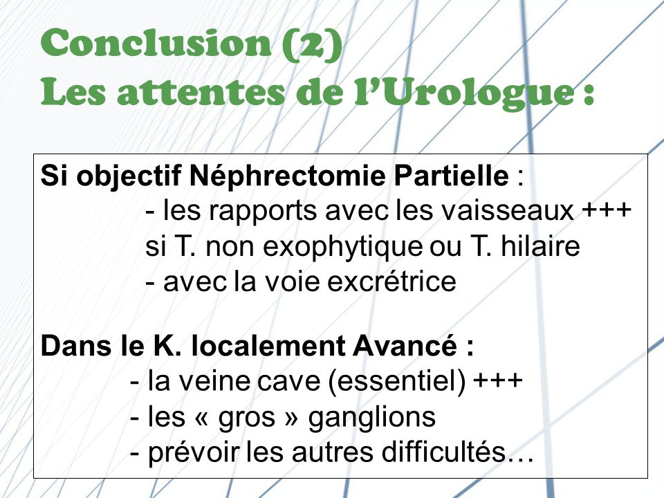 Conclusion (2) Les attentes de l'Urologue :