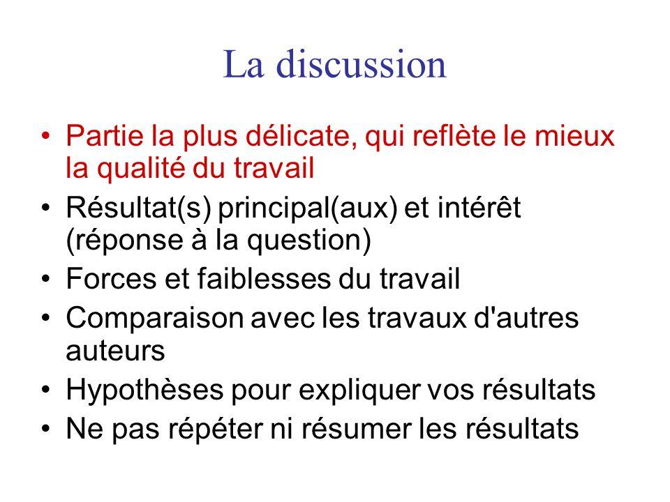 La discussion Partie la plus délicate, qui reflète le mieux la qualité du travail. Résultat(s) principal(aux) et intérêt (réponse à la question)