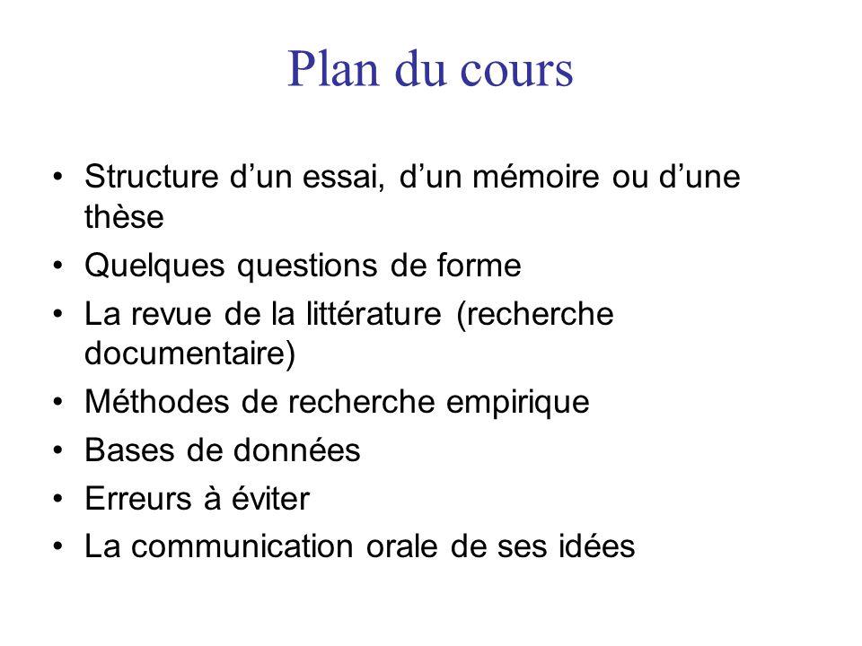 Plan du cours Structure d'un essai, d'un mémoire ou d'une thèse