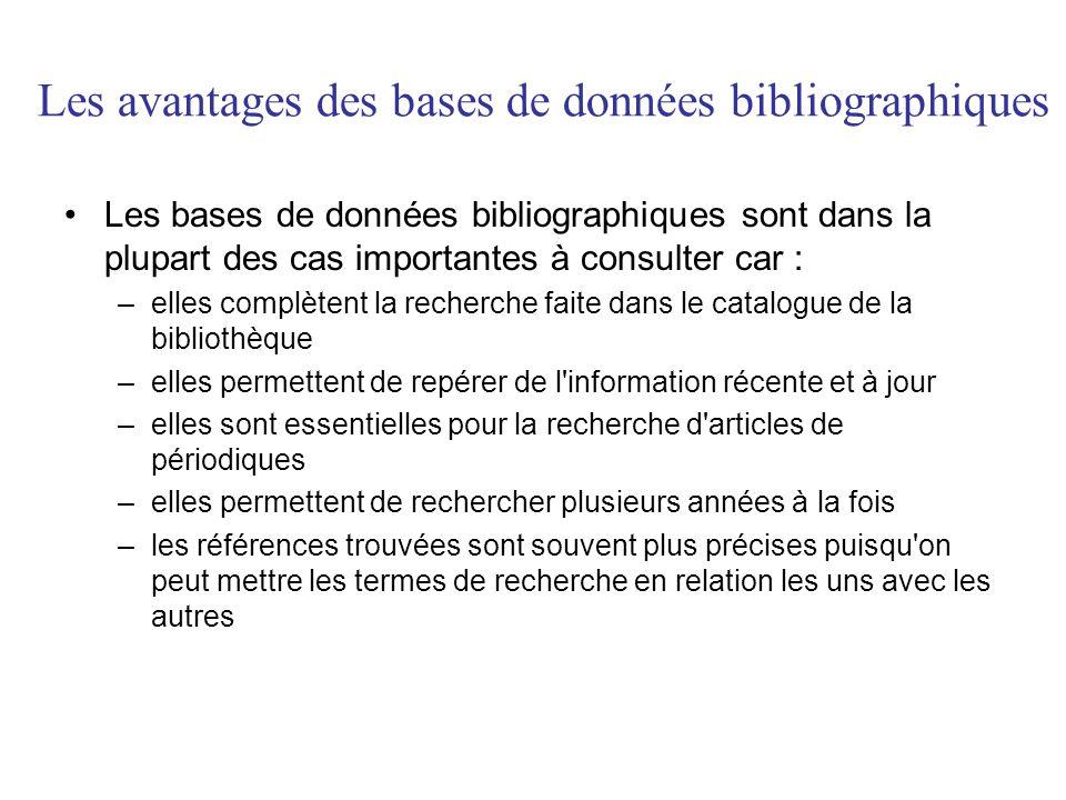 Les avantages des bases de données bibliographiques