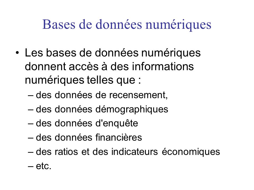 Bases de données numériques