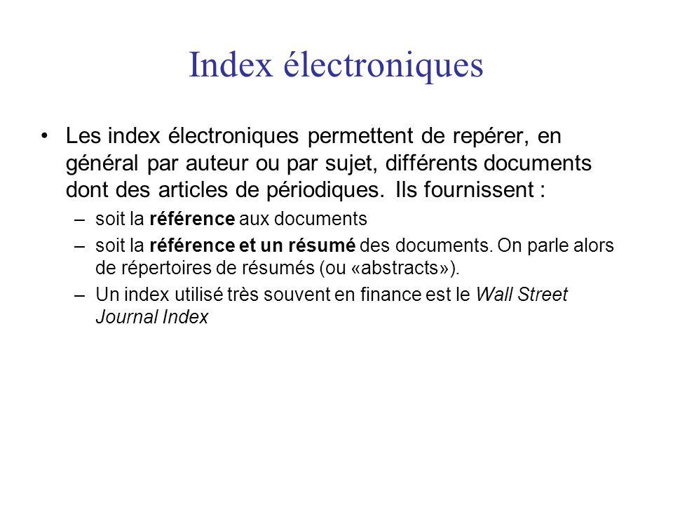 Index électroniques