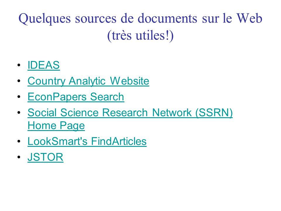 Quelques sources de documents sur le Web (très utiles!)