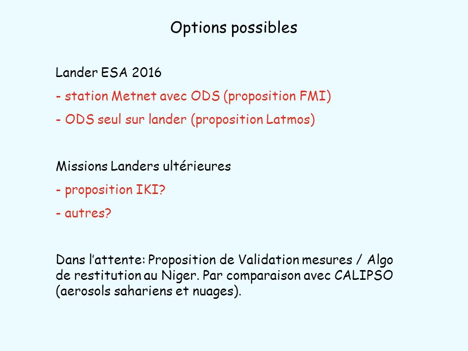 Options possibles Lander ESA 2016