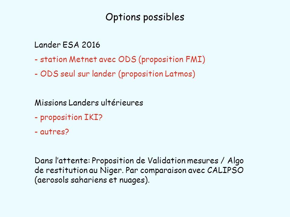 Options possibles Lander ESA 2016