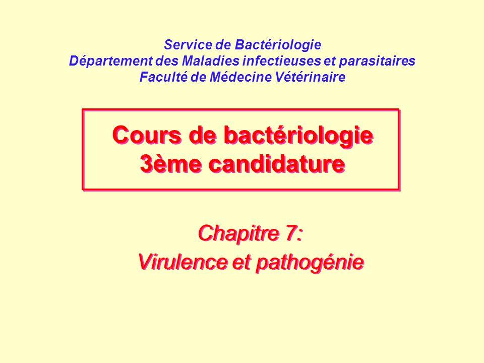 Chapitre 7: Virulence et pathogénie