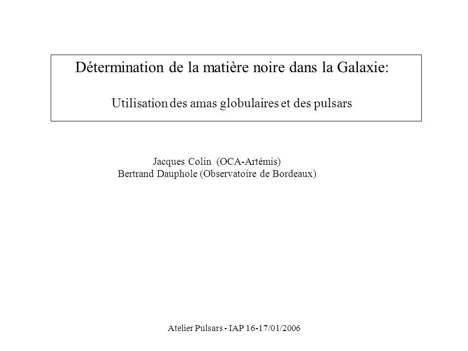 Détermination de la matière noire dans la Galaxie: