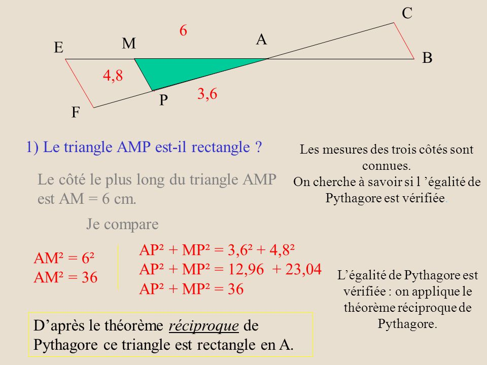 1) Le triangle AMP est-il rectangle