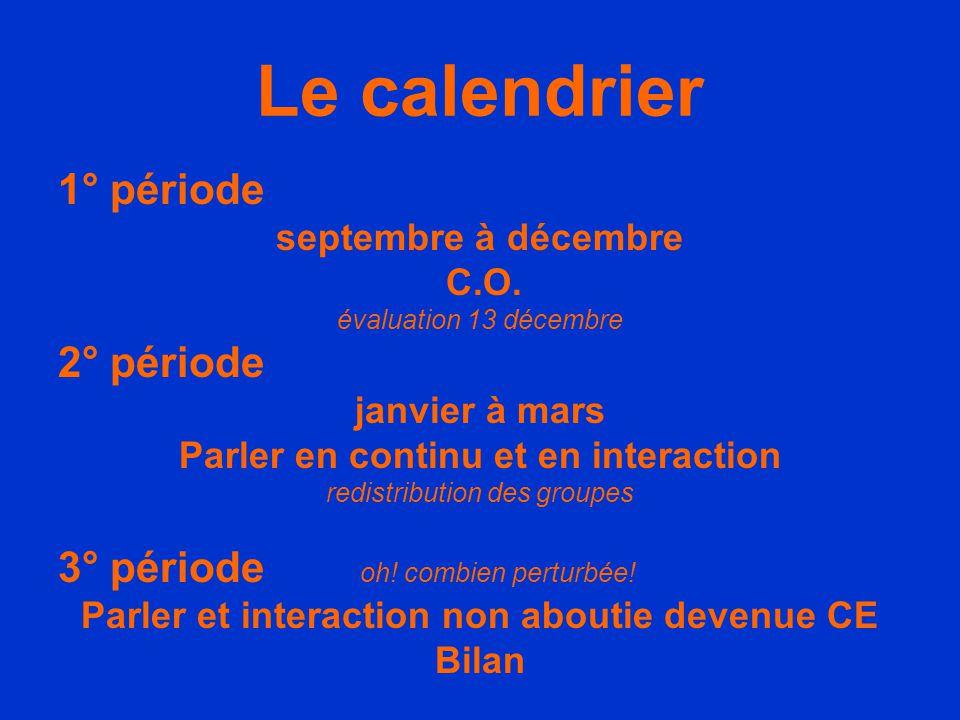 Le calendrier 1° période 2° période 3° période oh! combien perturbée!
