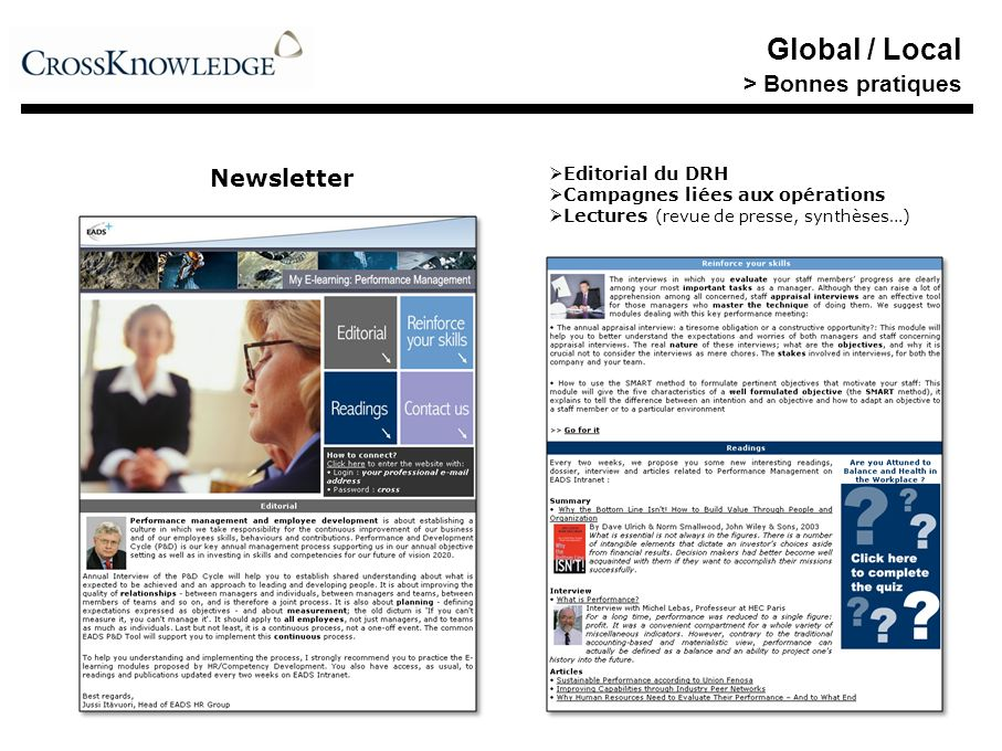 Global / Local > Bonnes pratiques Newsletter Editorial du DRH