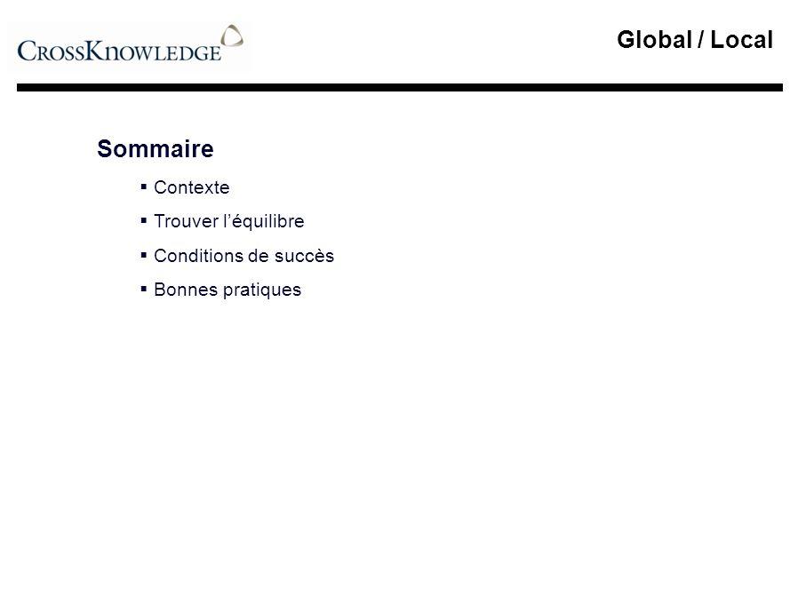 Global / Local Sommaire Contexte Trouver l'équilibre