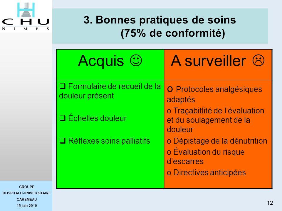 3. Bonnes pratiques de soins (75% de conformité)