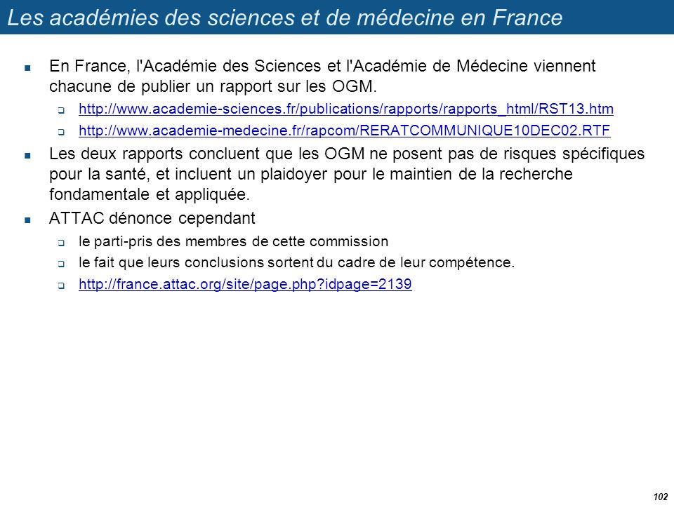 Les académies des sciences et de médecine en France