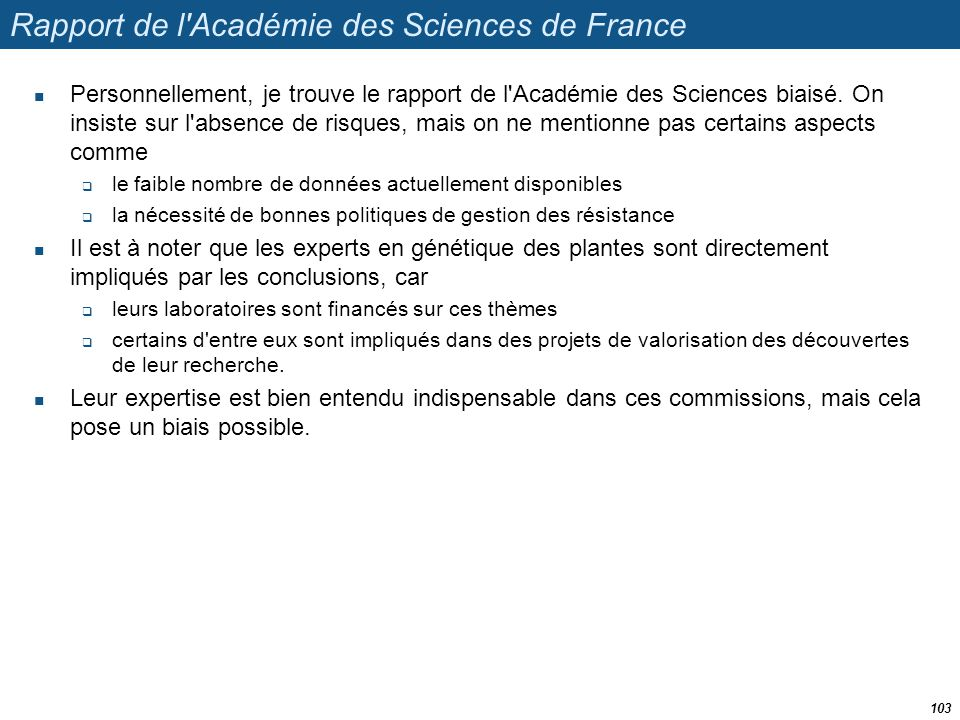Rapport de l Académie des Sciences de France