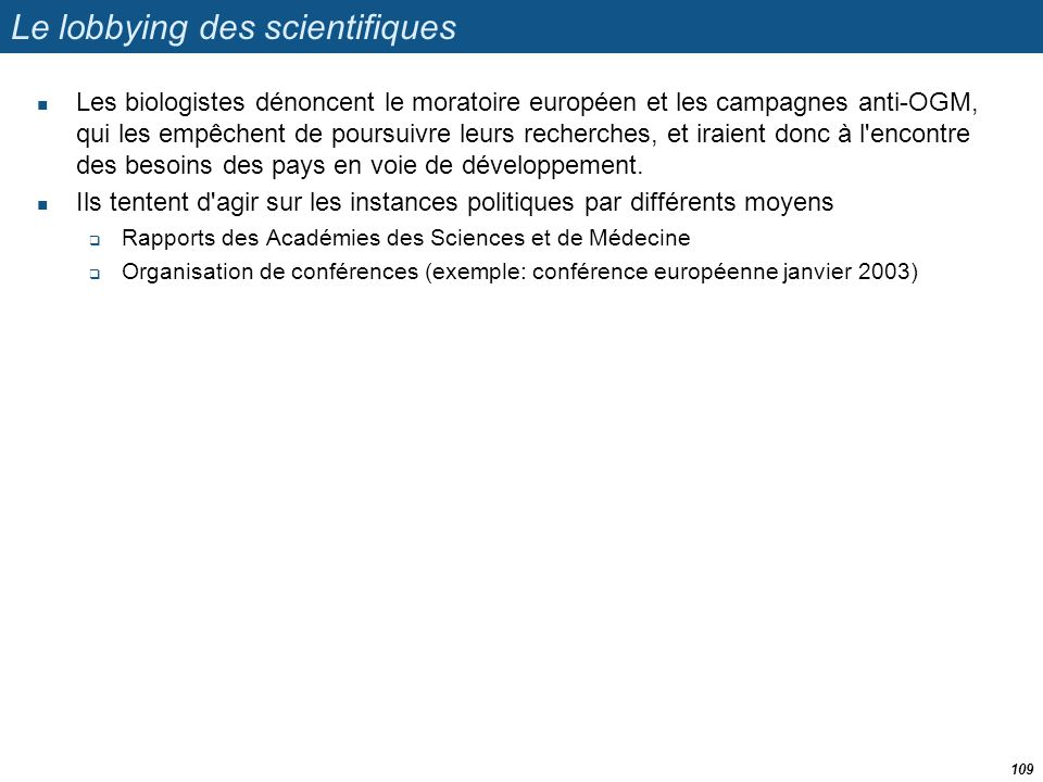Le lobbying des scientifiques