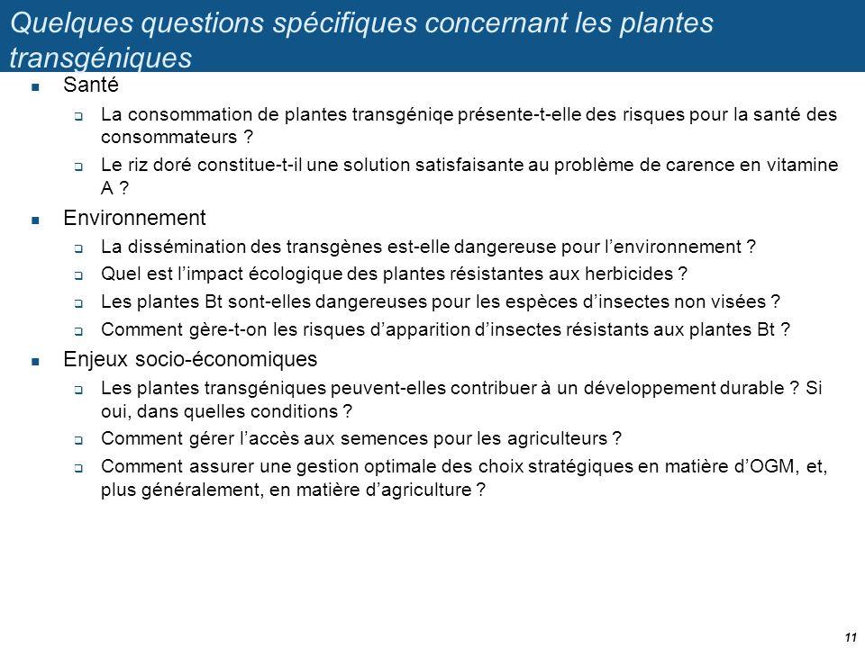 Quelques questions spécifiques concernant les plantes transgéniques