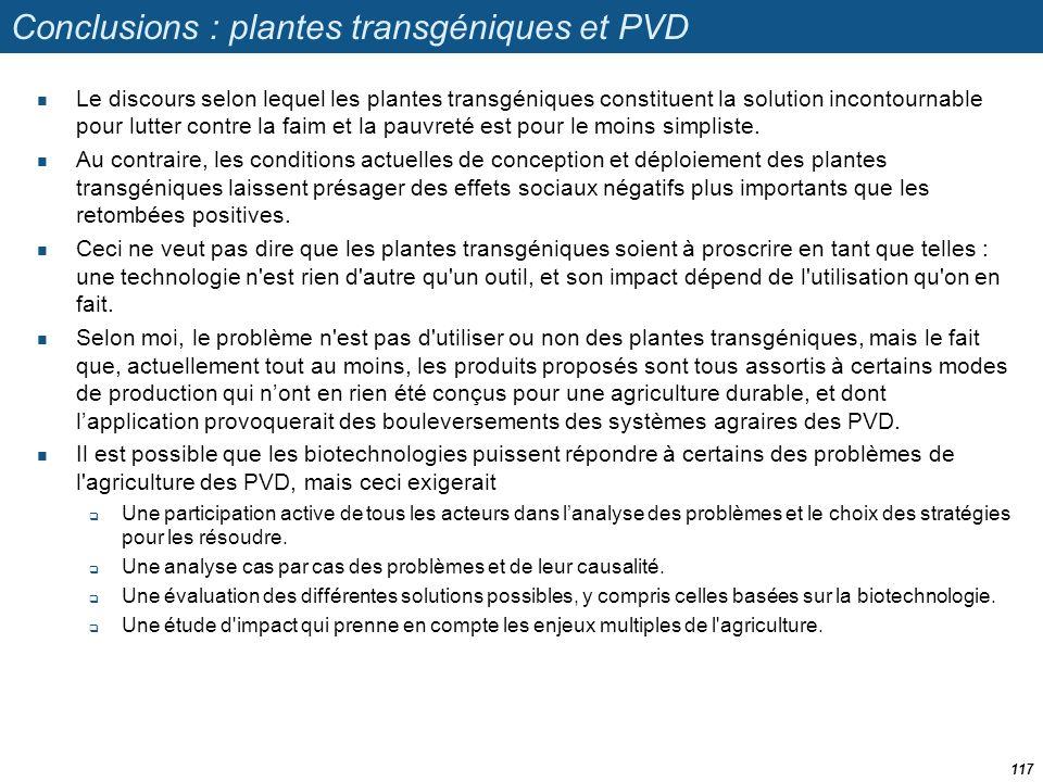 Conclusions : plantes transgéniques et PVD