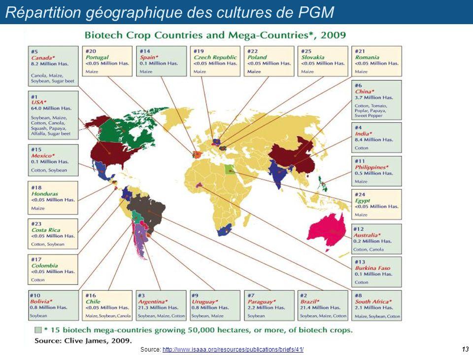 Répartition géographique des cultures de PGM