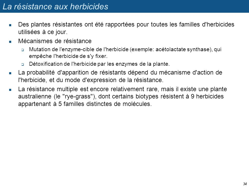 La résistance aux herbicides