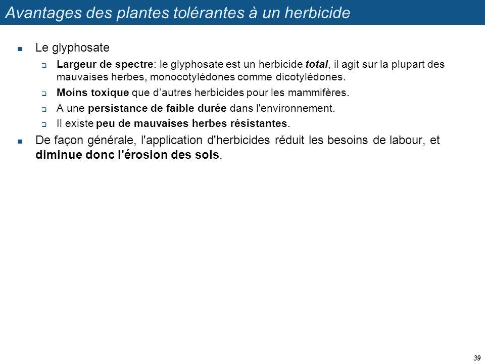Avantages des plantes tolérantes à un herbicide