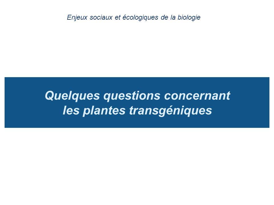 Quelques questions concernant les plantes transgéniques
