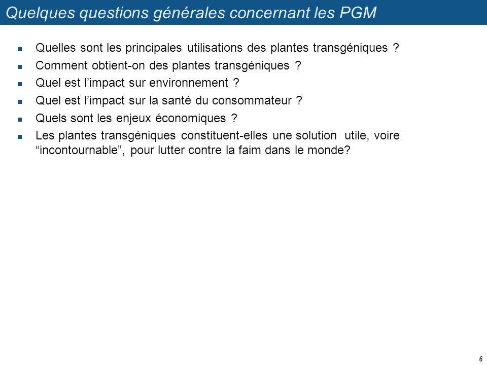 Quelques questions générales concernant les PGM
