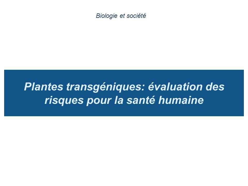 Plantes transgéniques: évaluation des risques pour la santé humaine