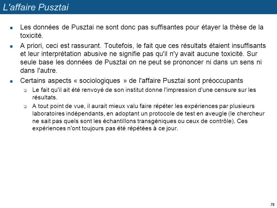 L affaire Pusztai Les données de Pusztai ne sont donc pas suffisantes pour étayer la thèse de la toxicité.