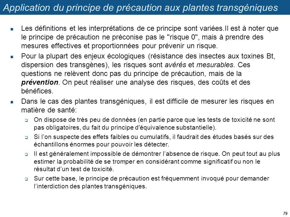 Application du principe de précaution aux plantes transgéniques